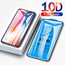 10D couverture complète verre de protection pour iPhone 6 6S 7 8 plus X XR XS MAX verre sur iphone 7 8 6 6S X XR XS MAX protecteur décran