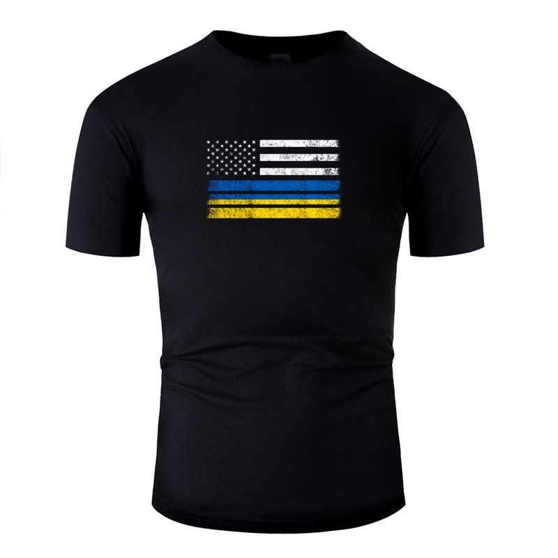 ใหม่ล่าสุด Anti-Wrinkle ยูเครน American FLAG USA ยูเครน Mens TEE เสื้อฝ้ายรอบคอ T เสื้อ Gents สั้น- เสื้อ TEE Tops