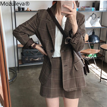 Mozuleva Tweedelige Plaid Blazer Pak Vrouwen Single-Breasted Jacket & Kokerrok Vrouwen Rok Pak Casual Blazer set 2019 Herfst(China)