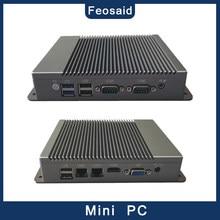 Mini computador industrial do anfitrião mini com processador j1800 j1900 e 2 gigabit nics, wifi, rs232, mini pc fanless