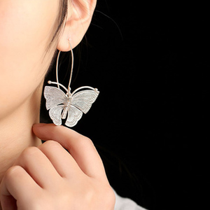 Image 5 - Echte Pure 100% 925 Sterling Zilver Overdreven Grote Vlinder Oorbellen Voor Vrouwen Handgemaakte Vintage Stijl