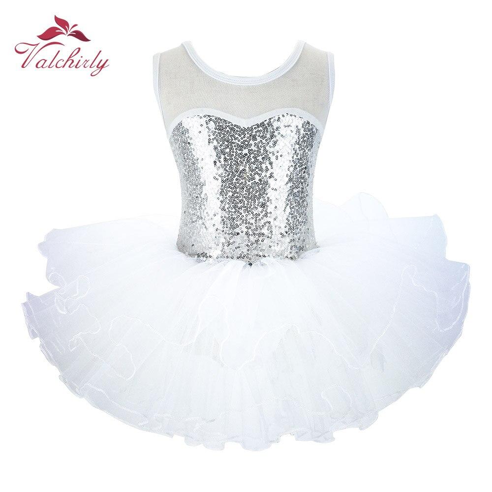 NEW Girls Silver Ballerina Fairy Prom Party Costume  Kids Sequined Flower Dress Dancewear For Stage PerformanceBallet Tutu Dress