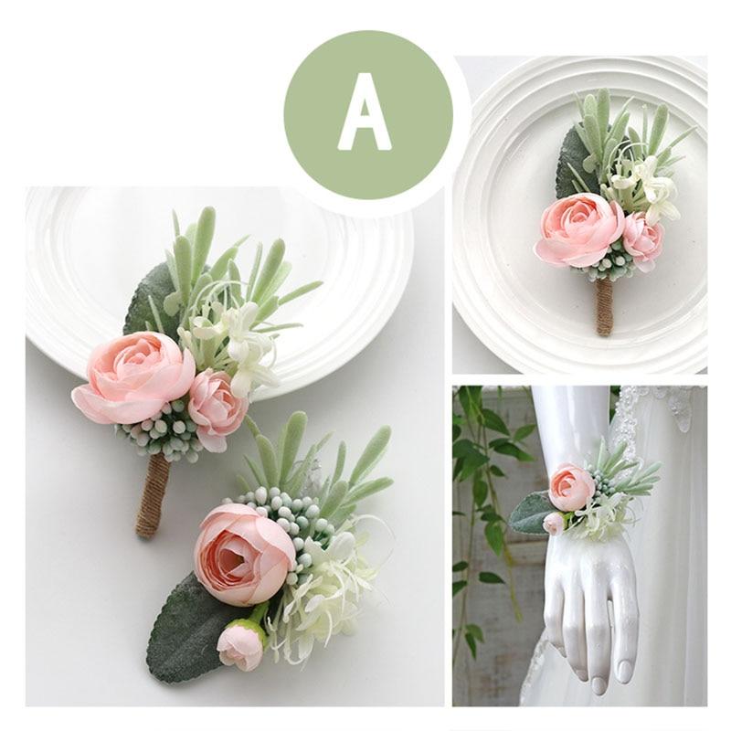 Meldel Men Boutonniere Wedding Wrist Corsage Bride Wrist Flower Girl Bracelet Groom Boutonnieres White Pink Artificial Silk Rose
