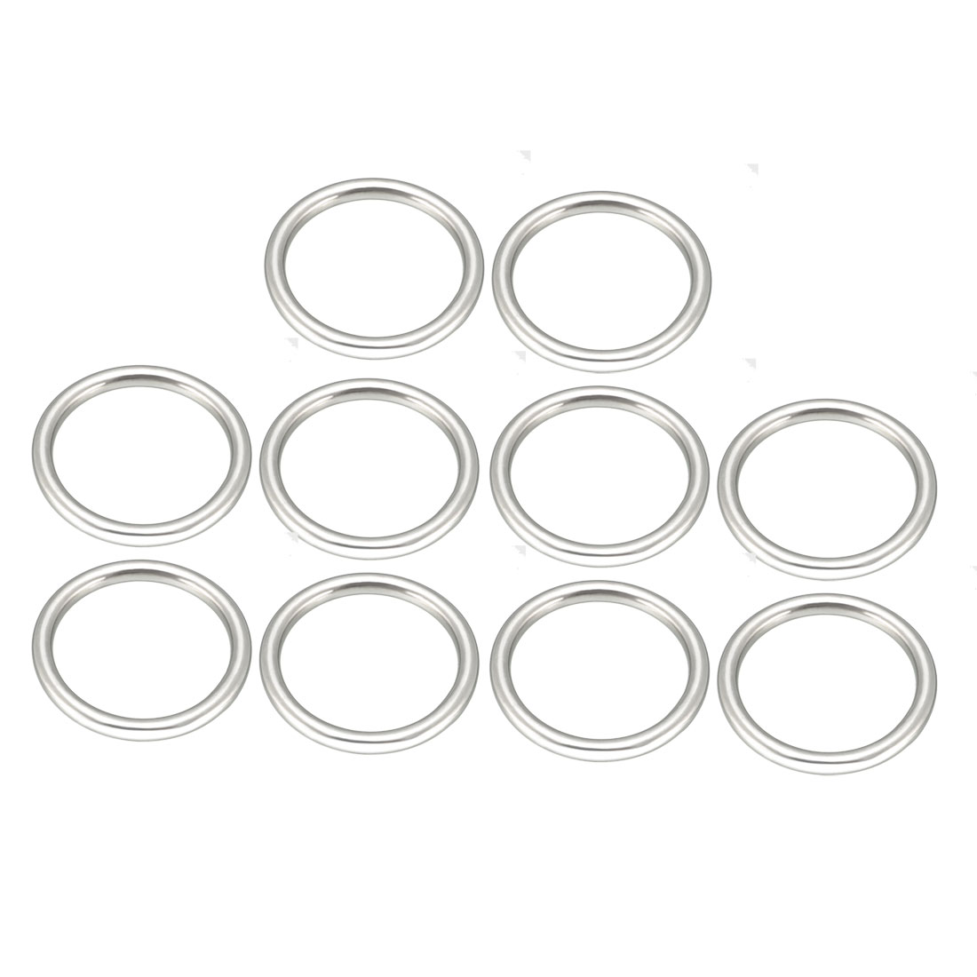Uxcell 10 Pcs Multi-Purpose Metal O Ring Buckle Welded 38mm X 30mm X 4mm For Hardware Bags Ring Hand DIY Accessories