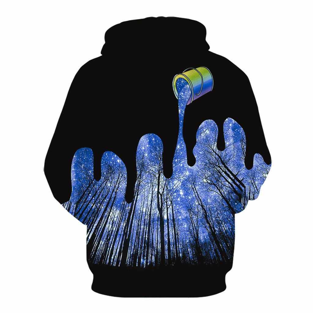 2019 メンズ新スタイル 3D 森プリントパーカーフード付きルーズ長袖 Sweatershirt トップスドロップシッピング 15 パーカージャケットヒップホップ