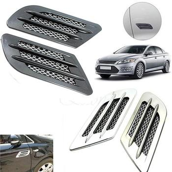 Car Side Air Flow Vent Hole Cover Fender Intake Grille Duct Decoration Sticker image