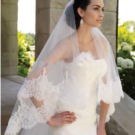 2020 Высококачественная Длинная фата для невесты с кружевной каймой и блестками для невесты Velo Sposa Pizzo