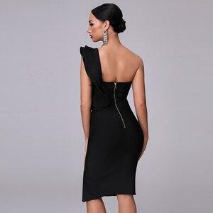 Image 3 - Sexy Bandage Black Split Dress Womens Dress 2020 New Club One Shoulder Tight Dress Ruffled Fashion Sexy Party Christmas Dress