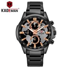 цена KADEMAN TOP Brand Luxury Relogio Masculino Casual Three-Needle Watches Mens Steel Strap Calendar Waterproof Quartz Watch mens онлайн в 2017 году