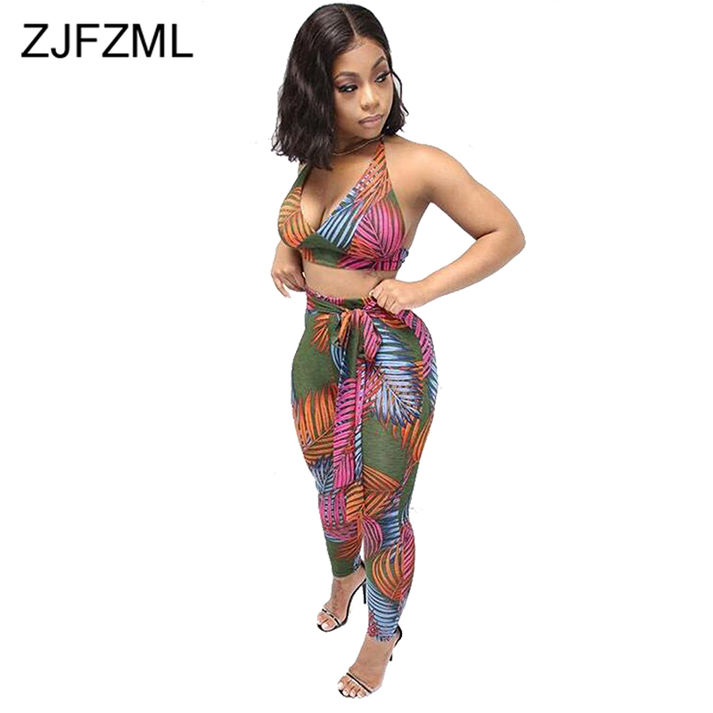 Leaves Print Sexy 2 Piece Outfits For Women Summer Clothes Halter Backless Crop Top+ Sashes Bodycon Pant Sweatsuit Matching Set