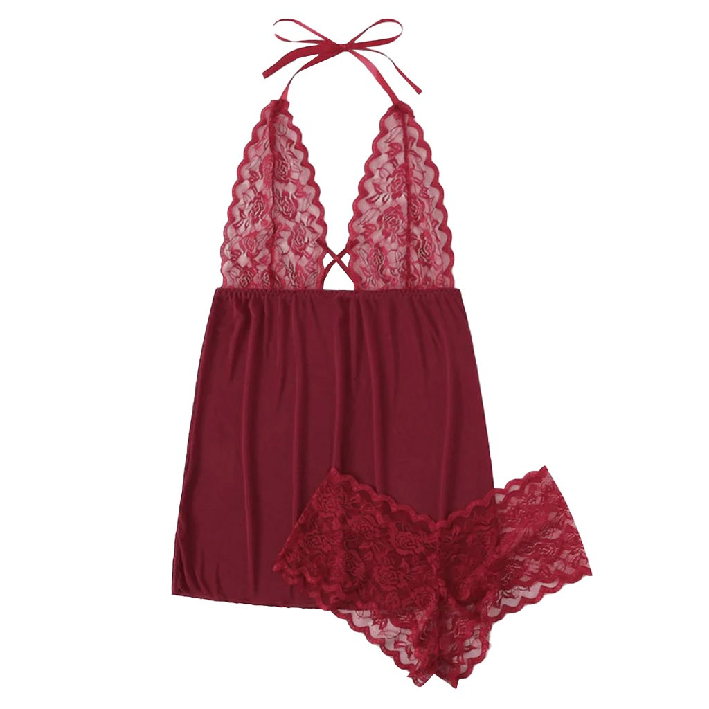 <font><b>Sexy</b></font> <font><b>Lingerie</b></font> Plus Size S-3XL Lace Halter Backless V-neck Hot Underwear <font><b>Lingerie</b></font> <font><b>Transparente</b></font> Hot Erotic <font><b>Babydoll</b></font> <font><b>Sexy</b></font> Costumes image