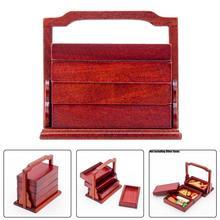 Odoria 1:12, cesta de Picnic en miniatura para cocina, 3 niveles, Estilo Vintage asiático, accesorios de cocina para casa de muñecas