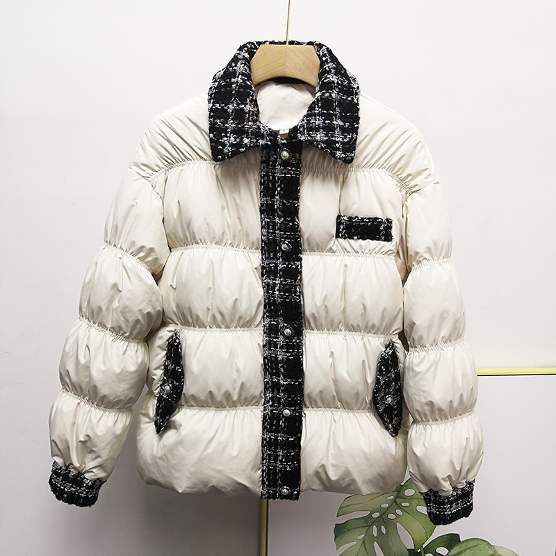 Soft down coats Winter fashion Warm white duck down coat female was thin hit color thick Down Warm Jacket warm Parkas F800
