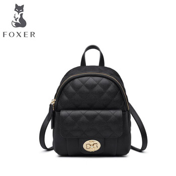 FOXER Women leather backpack designer bags famous brand women bags 2020 new fahion cowhide bag Leisure Travel bag