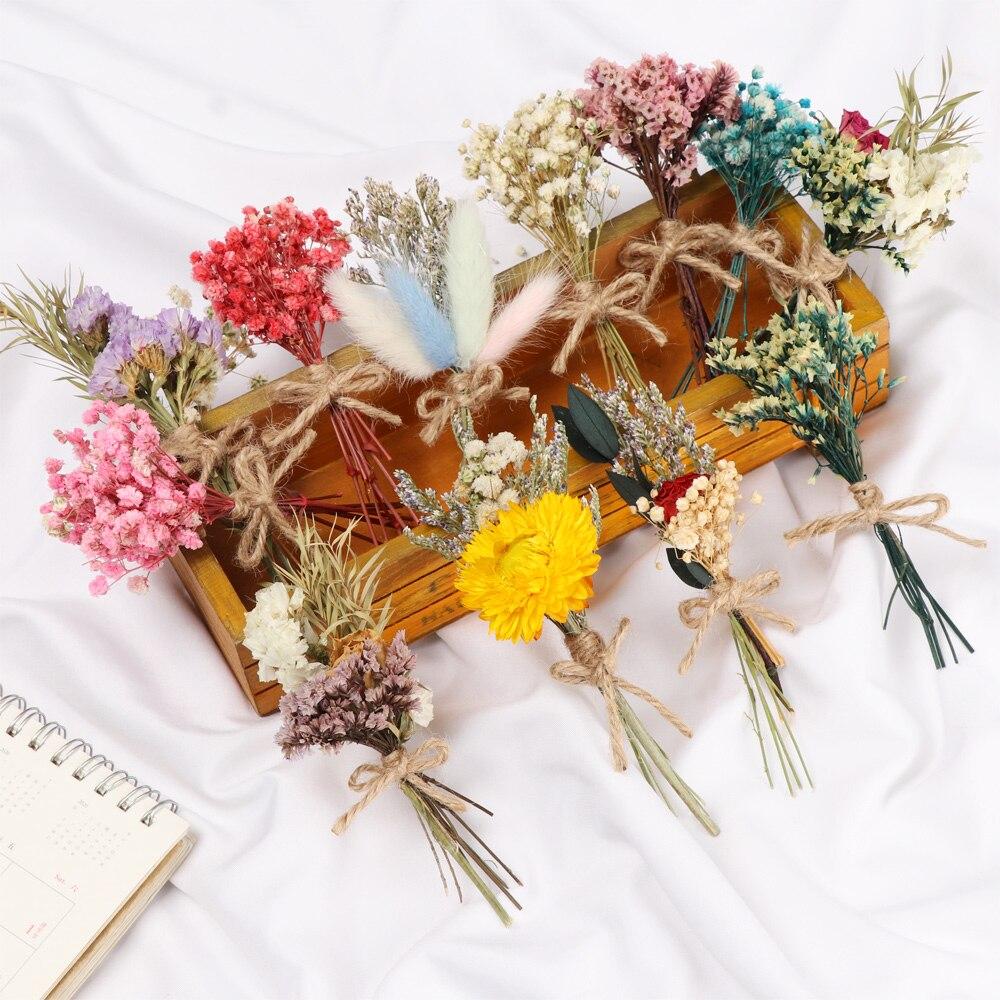 Настоящие Цветы Мини натуральный букет из сушеных цветов Свадебные украшения креативный День Святого Валентина Красочный Букет цветов рек...