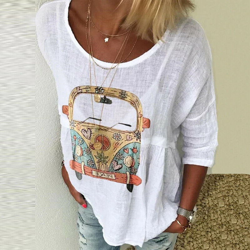 Helisopus Plus Size Women O-neck Casual T-shirt Boho Long Sleeve Kaftan Ladies Baggy Tee Shirt Tops