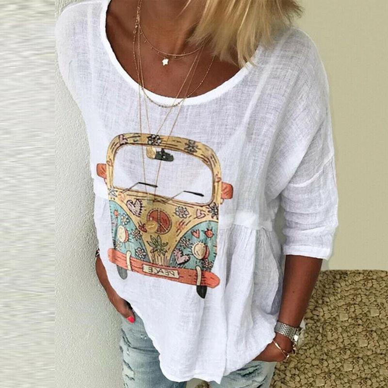 Женская Повседневная футболка Helisopus, с o образным вырезом, с длинным рукавом, кафтановая, мешковатая Футболки      АлиЭкспресс