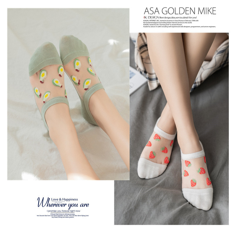 Summer New Cartoon Fruits Embroidery Transparent Women Socks Breathable Comfortable Boat Socks For Ladies Original Casual Sox