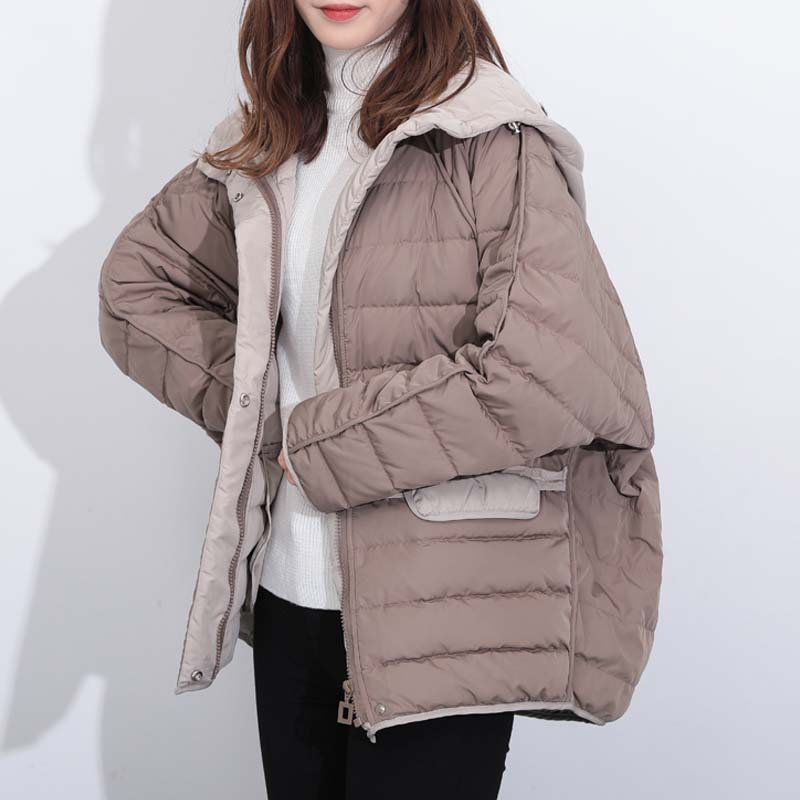 YNZZU 2019 Winter Hooded Long sleeve Women Down coat Loose oversize Pocket Short Down overcoat Warm Female Down Jacket YO915 in Down Coats from Women 39 s Clothing