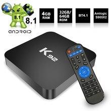 Docooler k92 caixa de tv smart tv android 8.1 s905x2 64 bit 2.4g + 5g dupla-banda wifi uhd 4 k vp9 h.265 4 gb ddr4 32 gb emmc