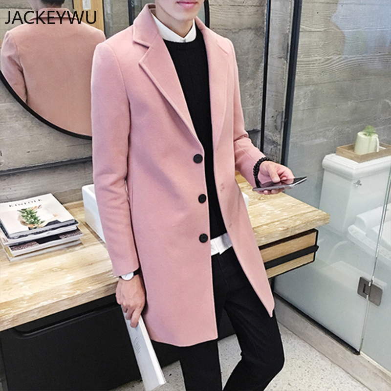 Winter   Trench   Coat Men England Style Long Section Jacket Men High Grade Woolen Slim Lapel Male Windbreaker Pure Color Overcoat
