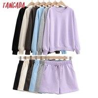 Tangada Frühling Mode frauen Set Solide Übergroßen Sweatshirt Shorts Übergroßen 2 Stück Sets Hoodies Sweatshirt Shorts Set 4P27