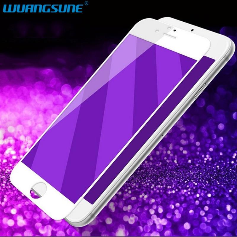 Eyecare Resistance to blu-ray Purple light 3D Hel täckt härdat glas för iPhone 6 6S 7 8 plus Mjuk kant Skärmskyddsfilm