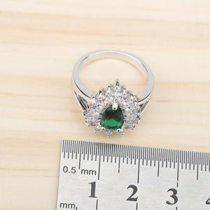 Image 5 - Ensemble de bijoux en Zircon vert argenté, Costume 925, boucles doreilles, pendentif et collier, bagues, ensemble de bijoux, coffret cadeau pour femmes