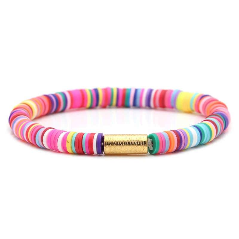 Noter Bohemian Klei Armband Voor Vrouwen Meisje Minimalistische Yoga Charme Braslet Disc Kralen Armband Zomer Strand Sieraden Pulseras Gift