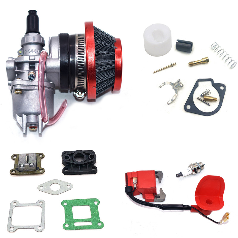 47CC 49CC Carburetor With 44mm Air Filter Red Blue Silver And Gasket Ignition Coil For Mini Moto Dirt Pocket Bike ATV Quad