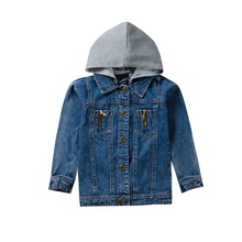 Jacket For Girls 2019 New Autumn Baby Girl Hooded  Tops Denim Jacket Coat Outdoor Long Sleeve Kids Outerwear 2016 new autumn girl coat print denim button trench children jacket long sleeve toddler kids girl outwear for 9 10 11 13 years