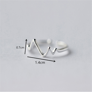 Image 5 - WANTME Genuine 100% 925 Sterling Silver Opening Adjustable Personalized Geometric Wavy Rings for Women Party Accessories Jewelry