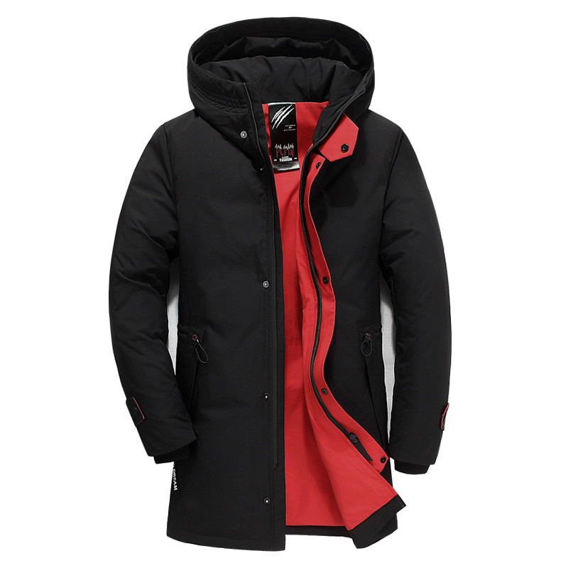 Mens Clothing 2019 Winter New Down Jacket Fashion Casual Slim Hooded Thick Warm White Duck Down Jacket Men Long Coat Winter