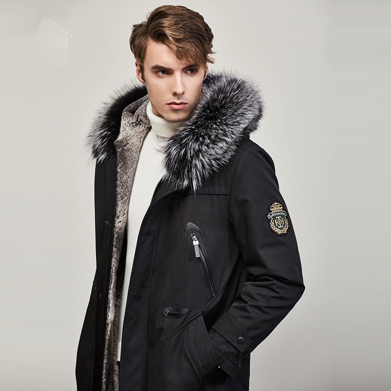 Men's Winter Jacket Real Fur Coat Natural Rabbit Fur Parka Men Clothes 2020 Mens Luxury Fur Warm Jacktes Plus Size JS15 YY831