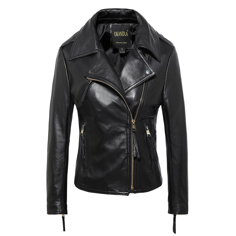 Free Shipping,Brand Simple Style Genuine Leather Womens Casual Jackets.plus Size Soft Sheepskin Jacket,sales.slim Clothing