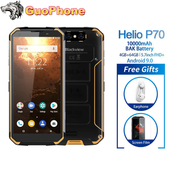 Перейти на Алиэкспресс и купить Blackview BV9500 Plus смартфон с 5,7-дюймовым дисплеем, ОЗУ 4 Гб, ПЗУ 64 ГБ, Android 9,0, IP68, водонепроницаемый мобильный телефон Helio P70, 10000 мАч