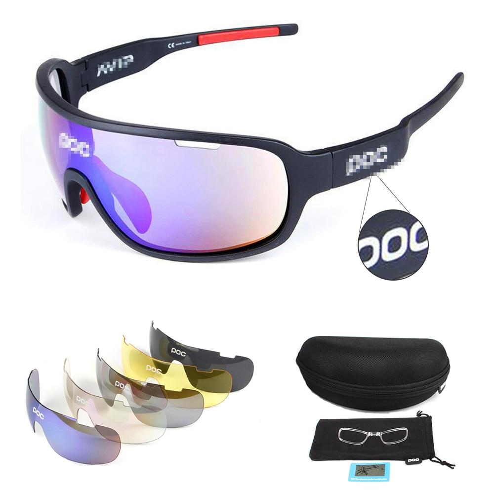 Style chaud POC 5 ou 3 lentilles lunettes de cyclisme sports de plein air lunettes de soleil polarisées lunettes de soleil femmes et hommes sport cyclisme lunettes costume