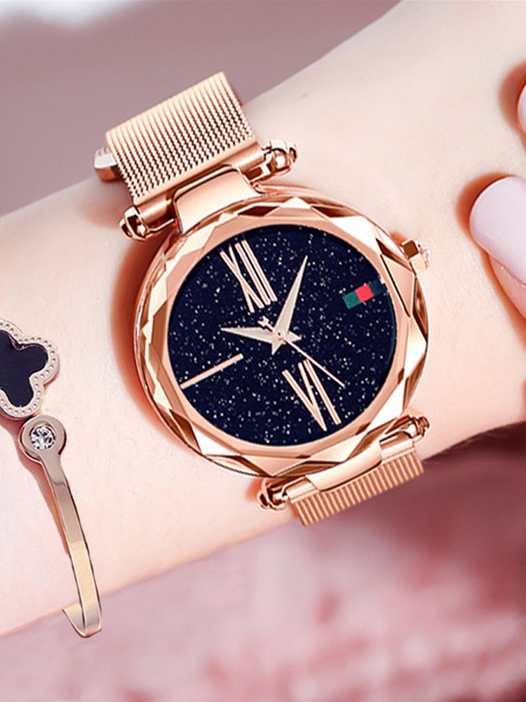 Female Wristwatch Magnet-Buckle Starry Rose-Gold Minimalism Roman Waterproof Casual Fashion