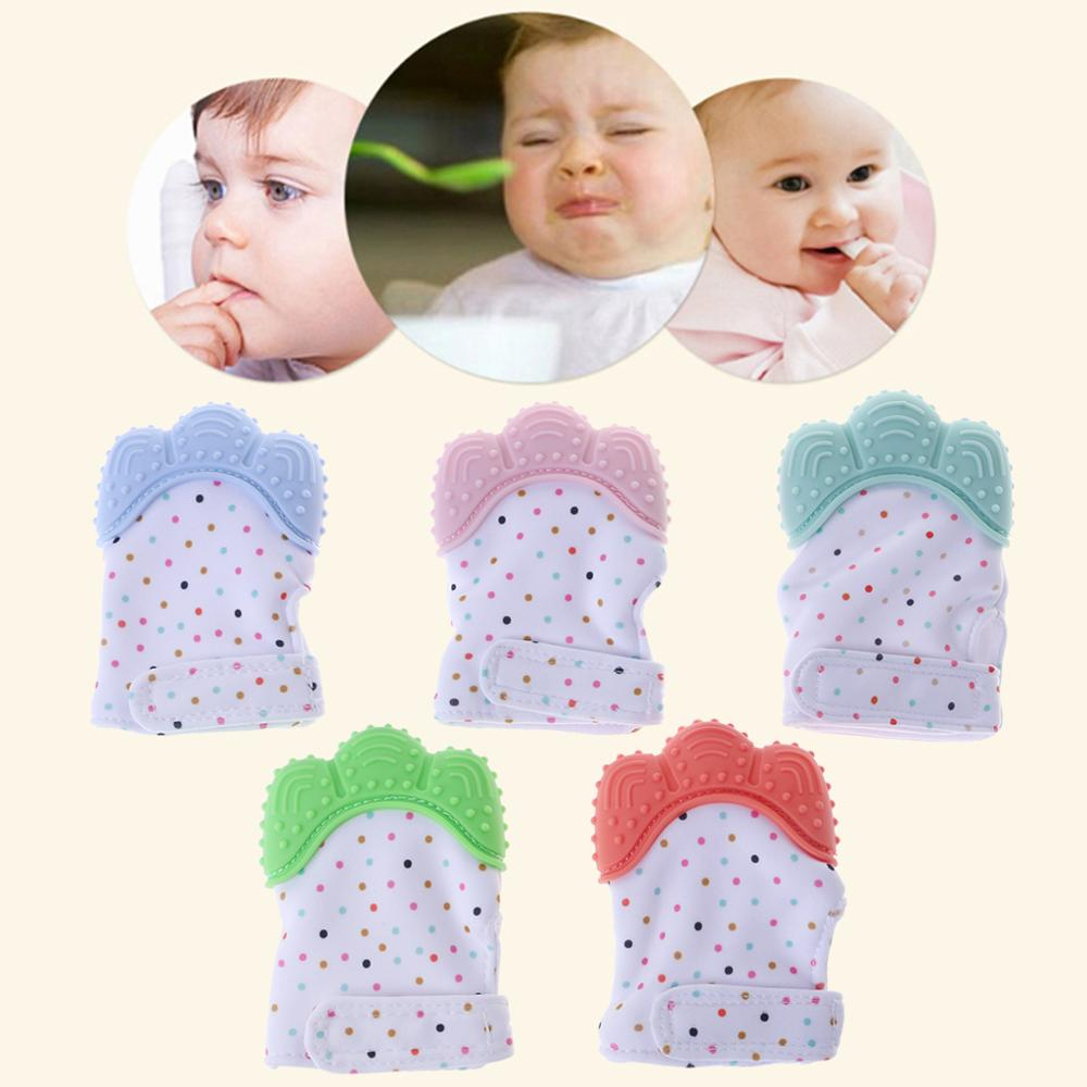 Baby Teether Gloves Squeaky Grind Teeth Oral Care Teething Pain Relief Newborn Bite Chew Sound Toys