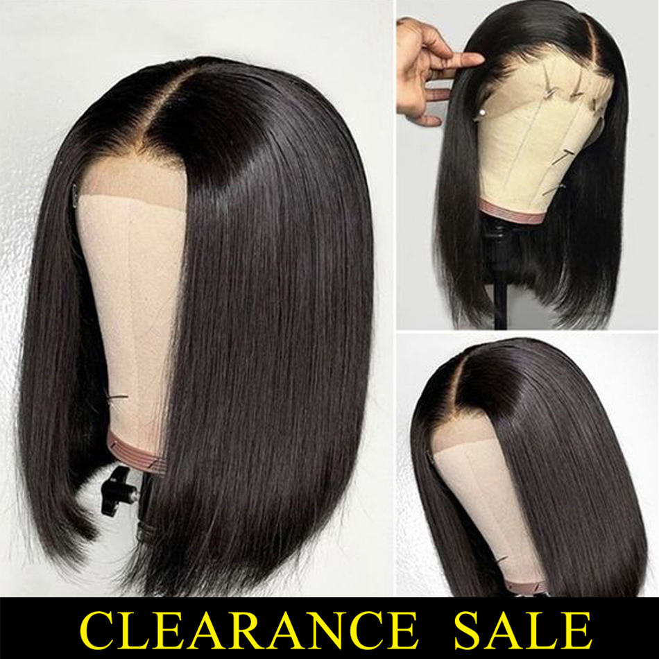 Short Human Hair Wigs 13*4 Lace Frontal Wig Straight Bob Lace Front Wigs Brazilian Lace Front Human Hair Wigs Remy Hair 150%