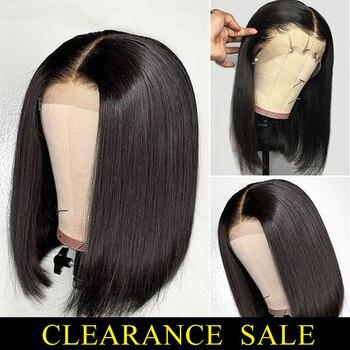 цена на Short Human Hair Wigs 13*4 Lace Frontal Wig Straight Bob Lace Front Wigs Brazilian Lace Front Human Hair Wigs Remy Hair 150%
