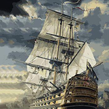 Sin Marco de barco de vela DIY pintura por números Kits de pintura sobre lienzo para la pared del hogar CUADRO DE ARTE 40x50cm