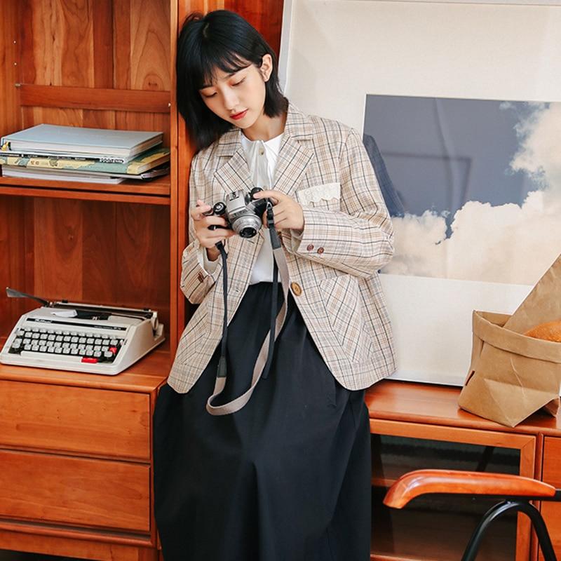 Vintage Plaid Women Blazer Pockets Jackets Office Lady Work Suit Coat Single Button Slim Blazers Autumn 2020 Outerwear Feminino