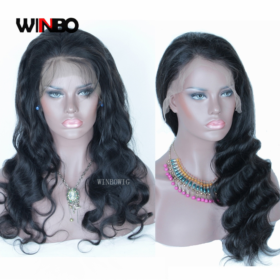 WINBO Malaysian Hair Body Wave 13x6 Lace Frontal Wigs Remy Hair Black Women Wigs 13x4 Lace Front Wigs Natural Black Color