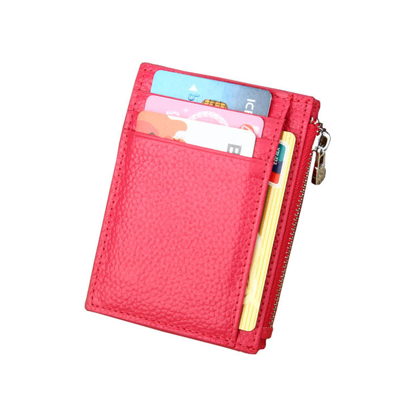Wallet Small Mini Luxury Genuine Leather RFID Slim Cute Thin Front Pocket Women Credit Card Purse Wallet With Zipper Coin Pocket
