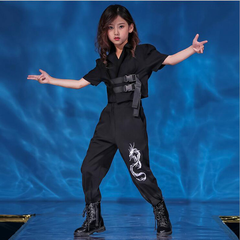 Girls Cool Hip Hop Clothing Jazz Dance Costumes Tshirt Black Tops Jooger Pants Kids Ballroom Competitions Dancing Outfits Wear