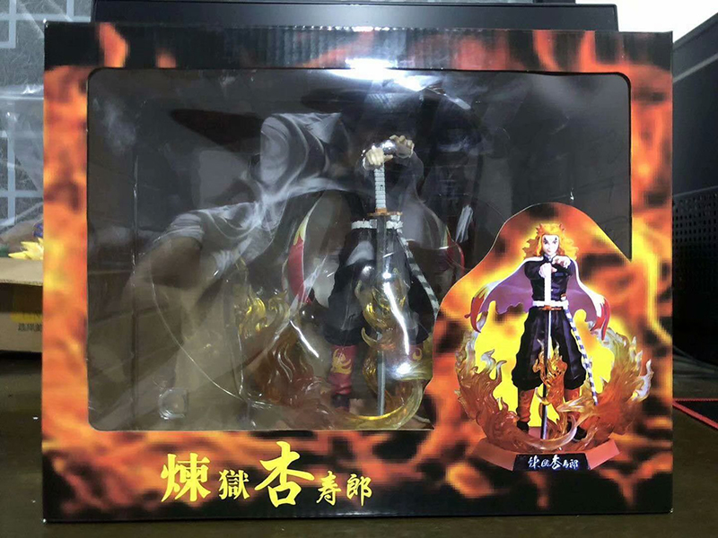 25cm Demon Slayer Rengoku Kyoujurou PVC Action Figures Toys GK Anime Kimetsu No Yaiba PVC Figurine Toy