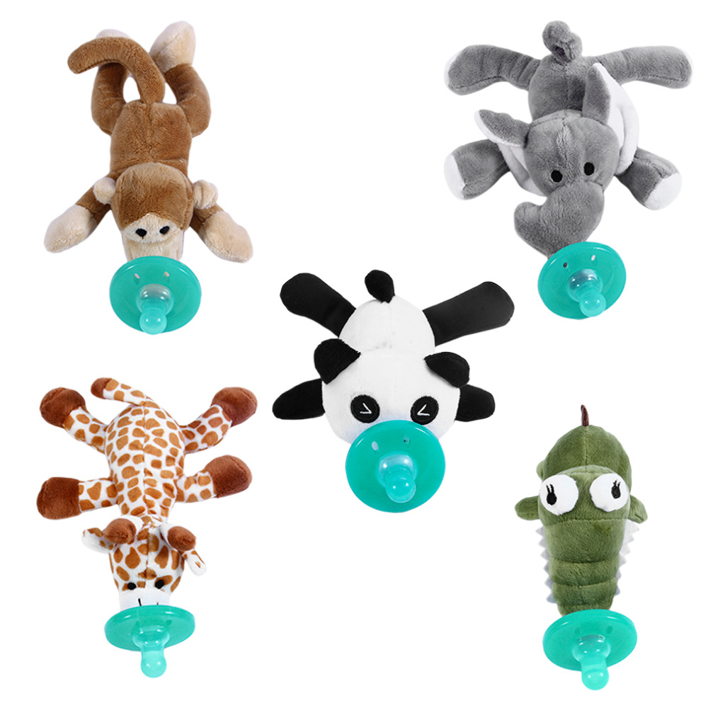 Newborn Cute Baby Plush Toy Pacifier Newborn Baby Kids Cartoon Dummy Nipple Soother Silicone Pacifier Feeding Accessories