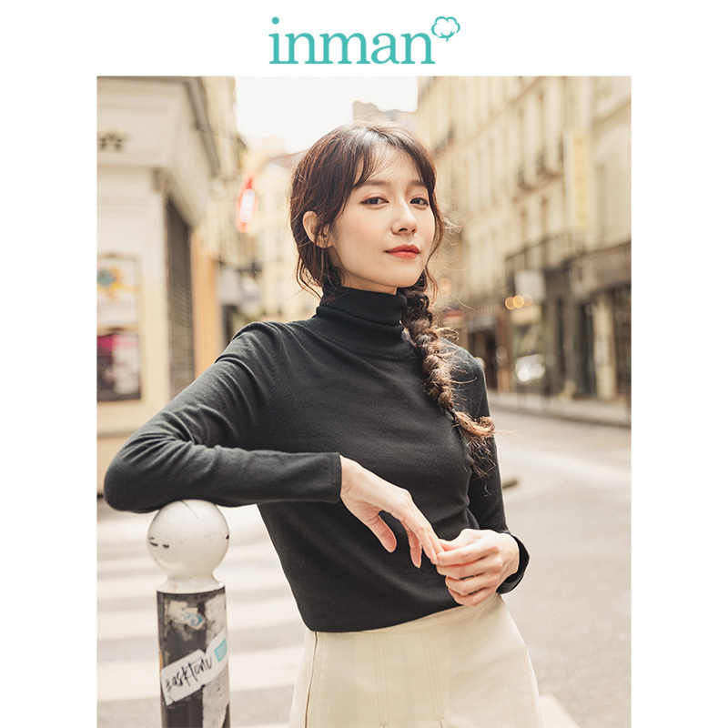 INMAN Spring Autumn Minimalism Solid All Matched High Collar Slim Pullover Women Snit Sweater