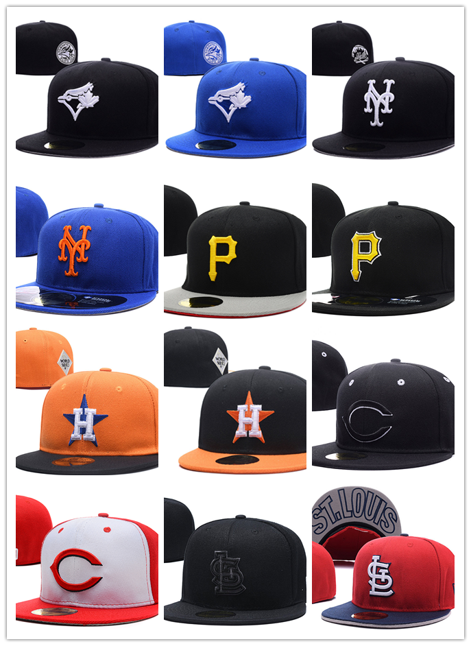 Fitted-Hats Baseball-Caps Closed-Gorras Houston Astros Pittsburgh Pirates Hip-Hop-Bone title=